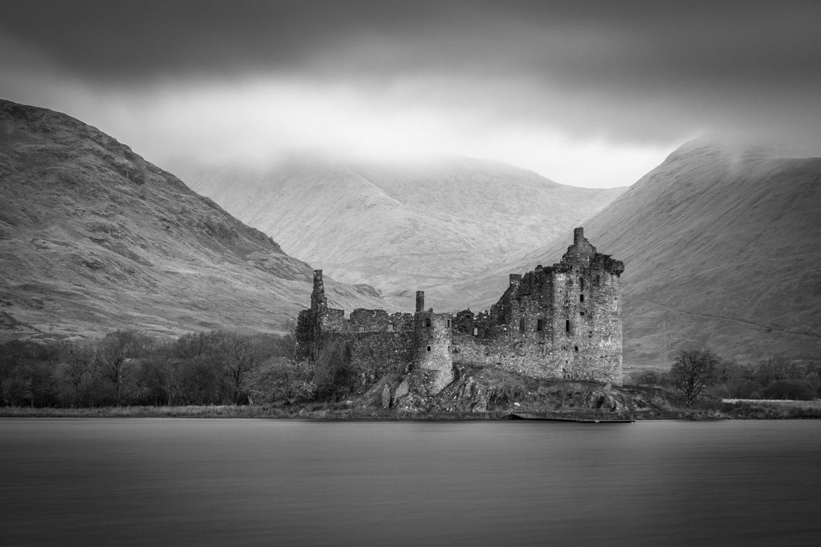 Kilchurn Castle black and white portfolio image