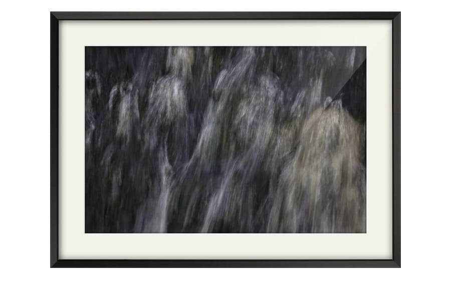 Abstract Minimalist Waterfall Photography mounted in Black Frame