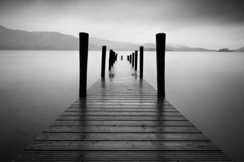 Lake District black and White Ashness Pier Jetty Print