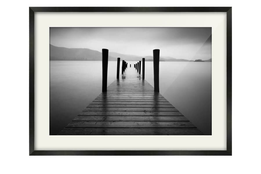 Black and white ashness pier jetty print to buy in a black frame