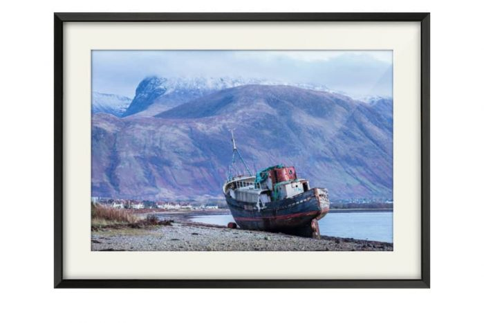 Ben Nevis from Corpach Black Framed Print