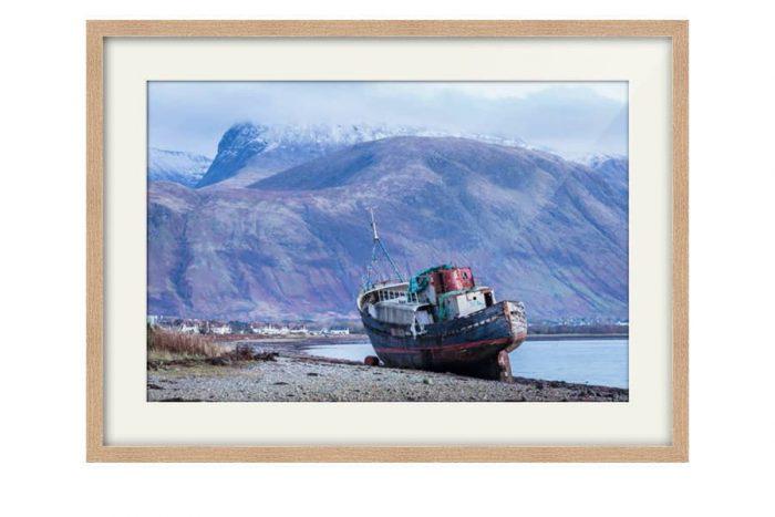 Ben Nevis from Corpach Oak Framed Print