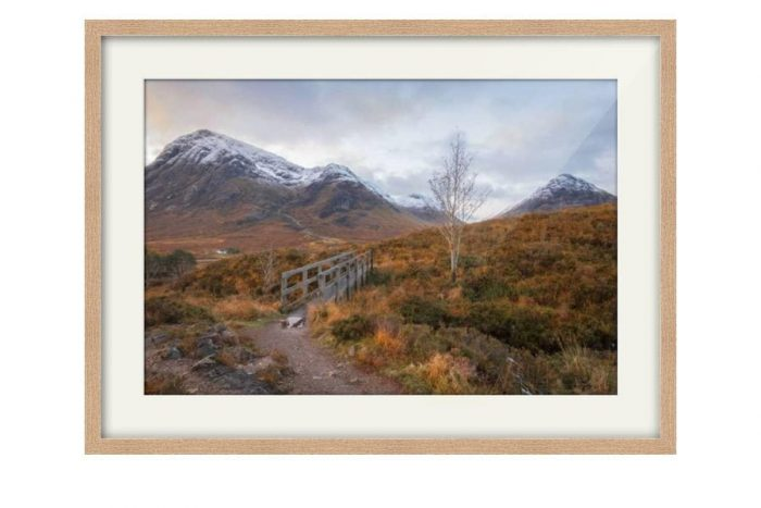 Glen Coe Bridge Oak Framed Print