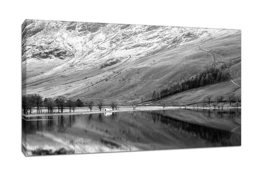 Lake District Buttermere Bothy Black and White Canvas Print