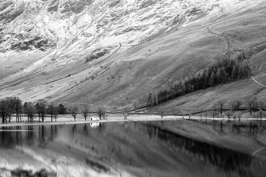 Lake District Buttermere-Hut-Black-and-White-Print