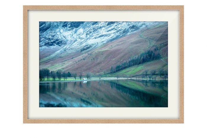 Buttermere Hut solid oak framed Print