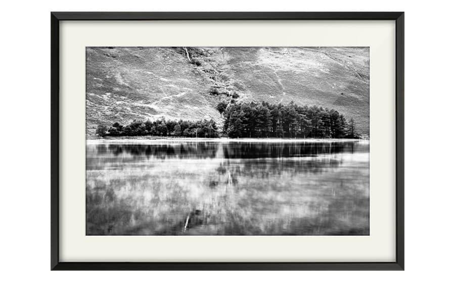 Buttermere Trees Black and White Black Framed Print