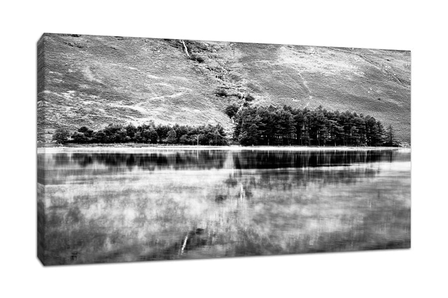 Buttermere Trees Black and White Canvas Print from the Lake District