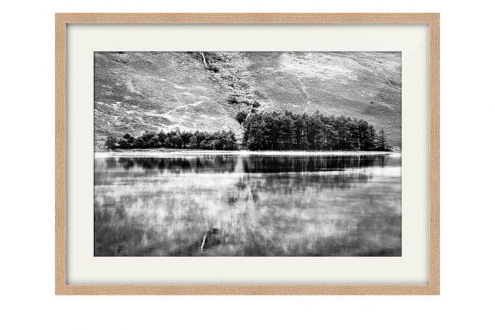 Buttermere Trees Black and White Oak Framed Print