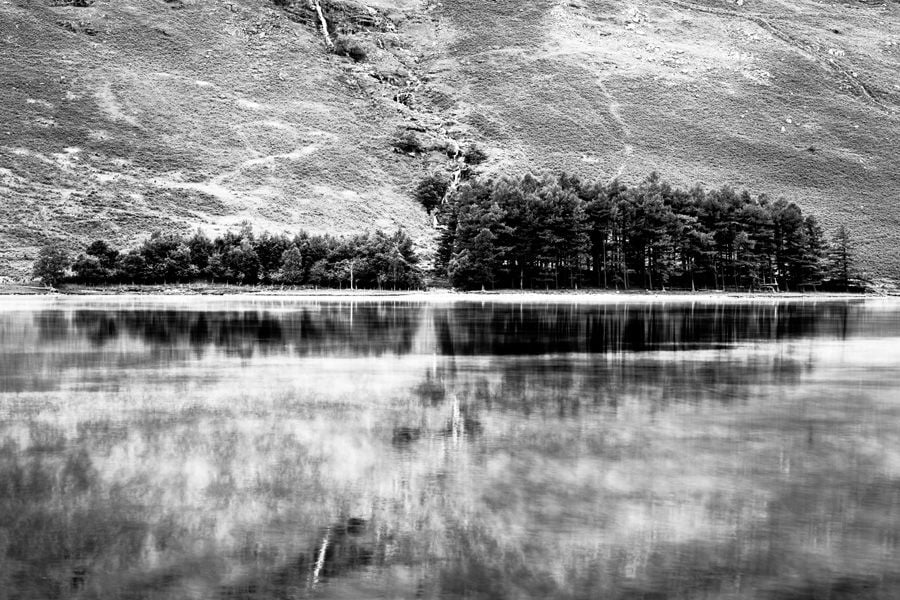 Buttermere-Trees-Mist-Lake District Black and White Print
