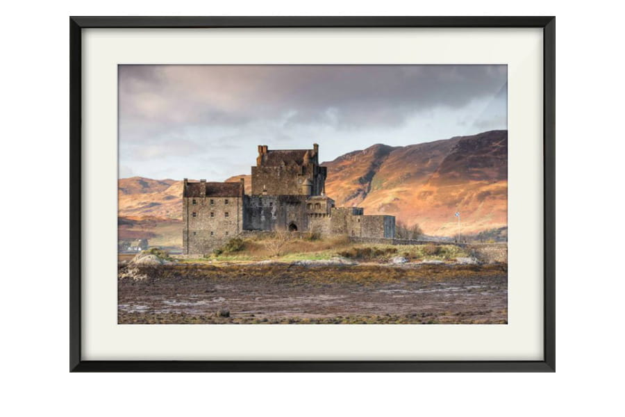 Eilean Donan Castle Photography Print for sale in a chunky Black Frame