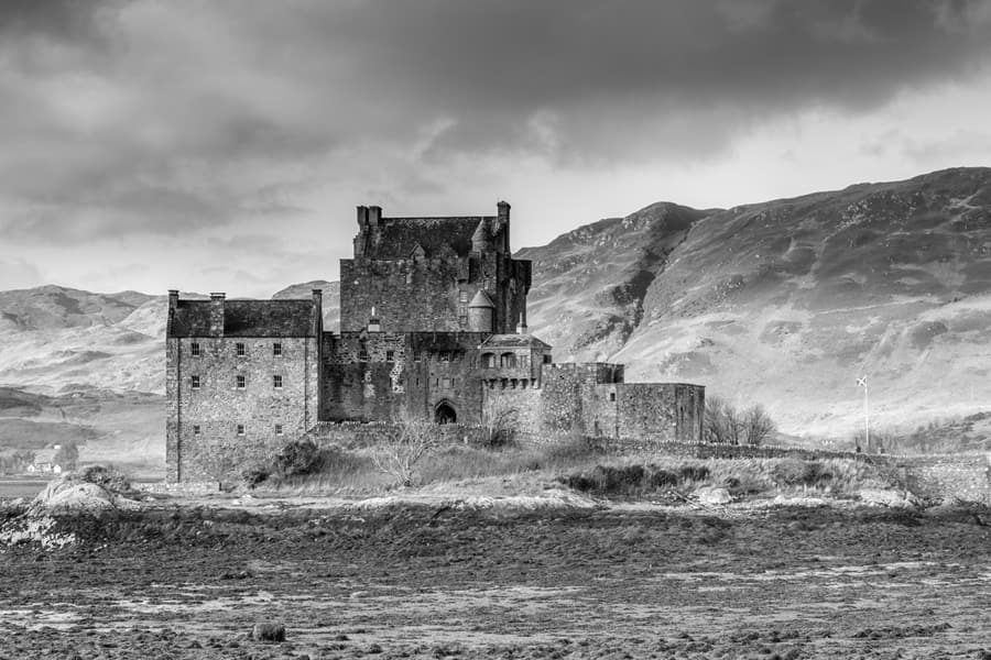 Black and White Photographic Picture of Eilean Donan Castle