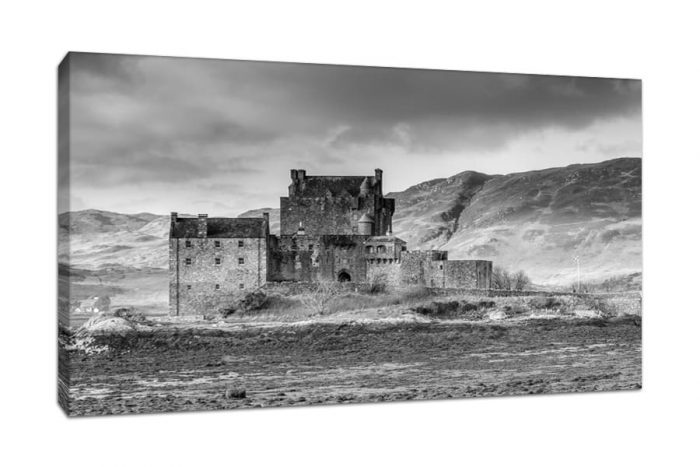 Black and White Canvas Picture of Eilean Donan Castle Scotland