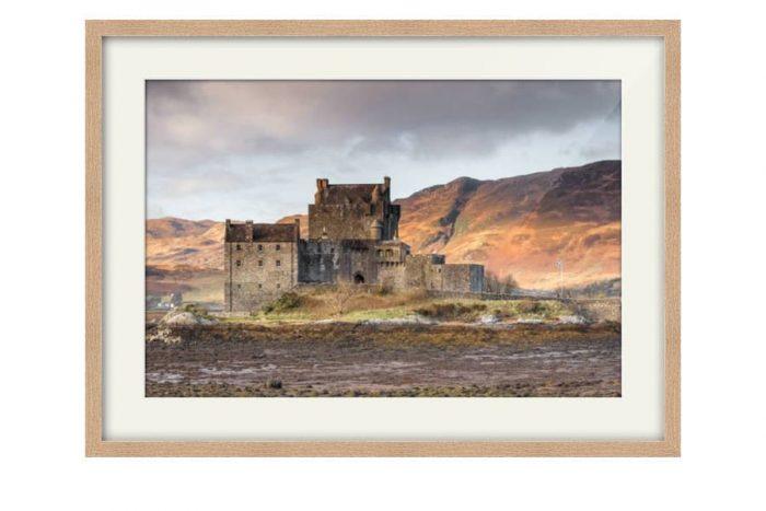 Eilean Donan Castle Photography Print for sale in a chunky Oak Frame