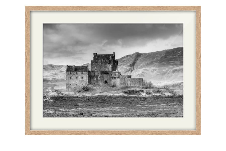 Eilean Donan Castle Black and White art photography for sale in a chunky Oak Frame