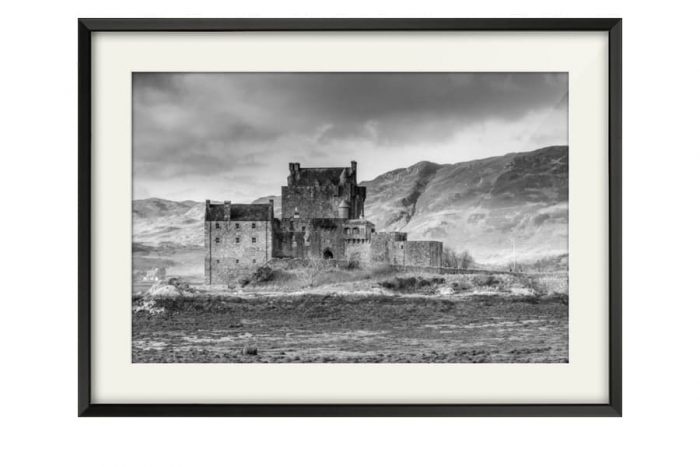 Eilean Donan Castle Black and White art photography for sale in a chunky Black Frame