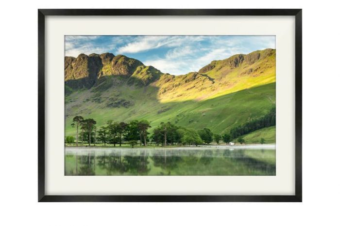 Haystacks Black Framed Print