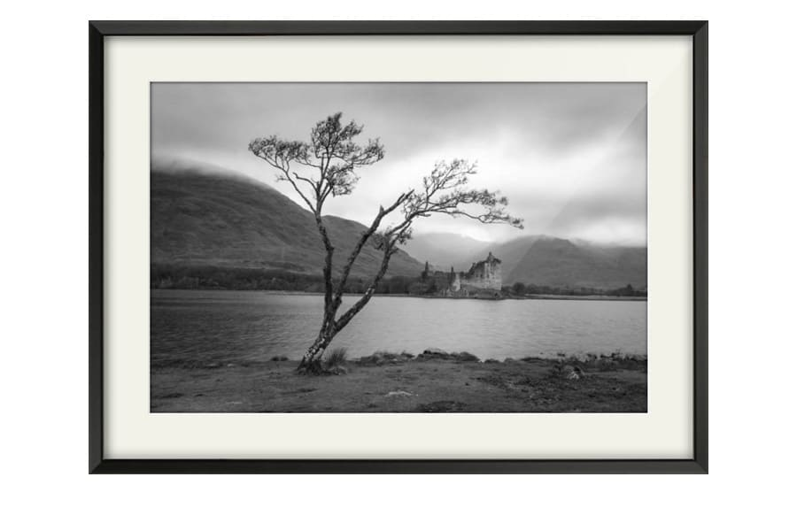 Kilchurn Castle Satin Black Framed artwork in black and white