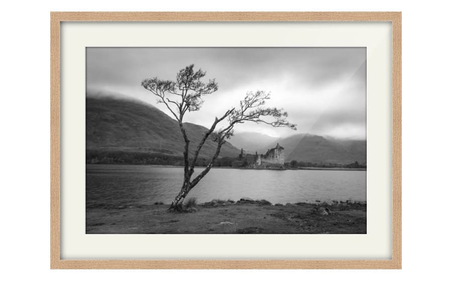 Kilchurn Castle Oak Framed artwork in black and white