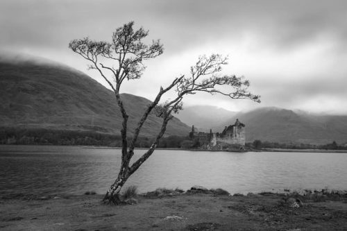 Black and White Kilchurn Castle Photographic Print by CJ Smith