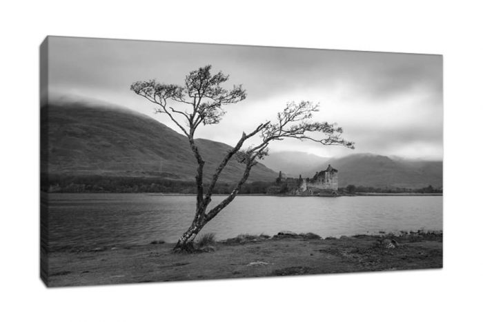 Kilchurn Castle Black and White Canvas Print