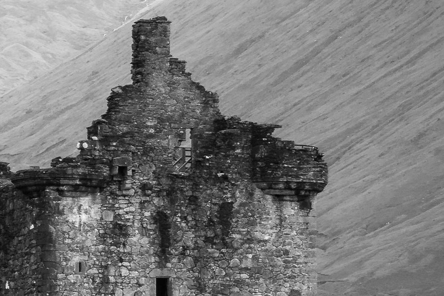 Kilchurn Castle Black and White Detailed View