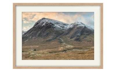 Snow Capped Buachaille Etive Mor Oak Framed Print