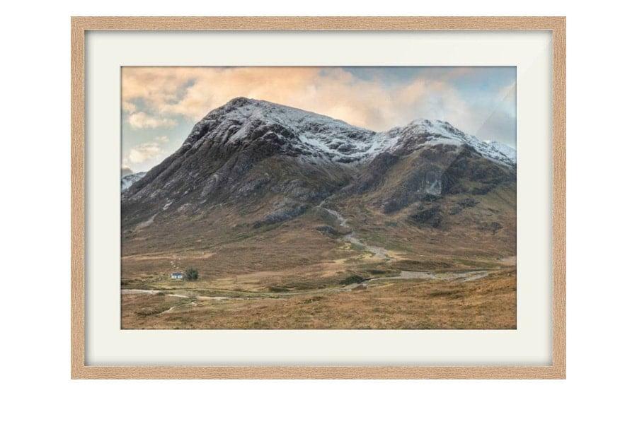 Snow Capped Buachaille Etive Mor Oak Framed Print