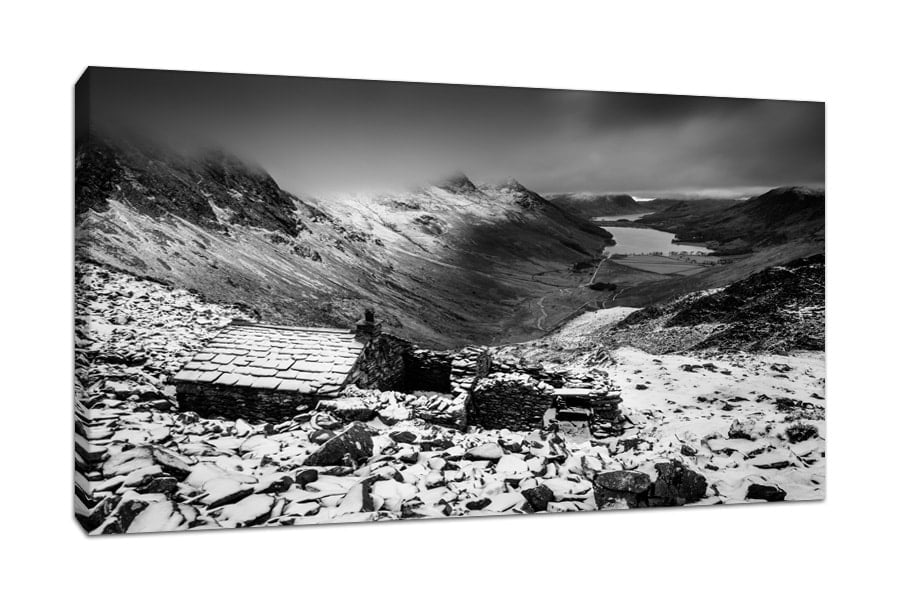 Lake District Buttermere Warnscale Bothy Black and White Canvas