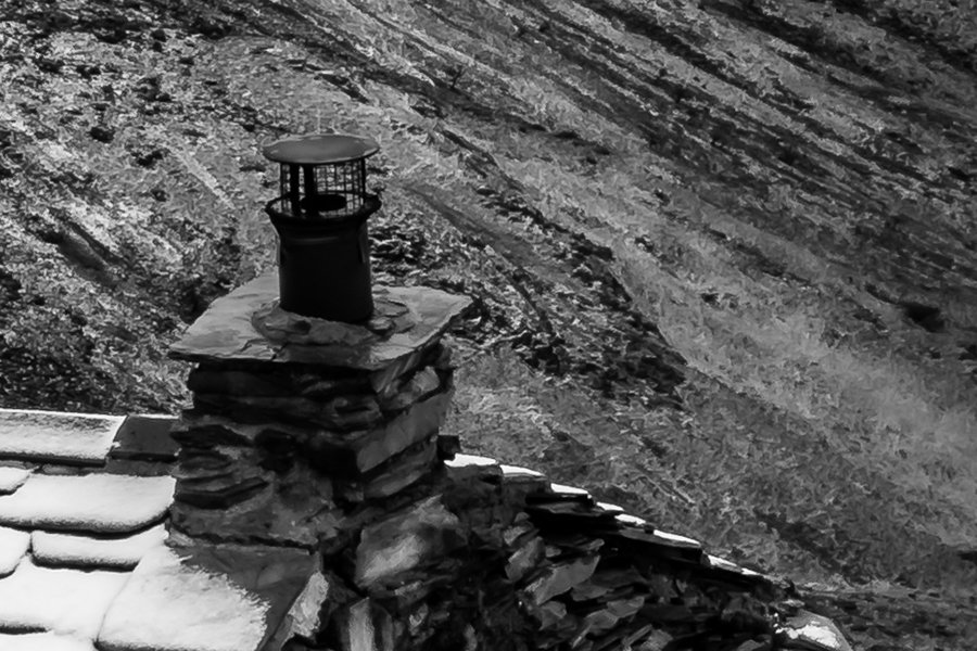Warnscale Bothy Black and White Detailed Image