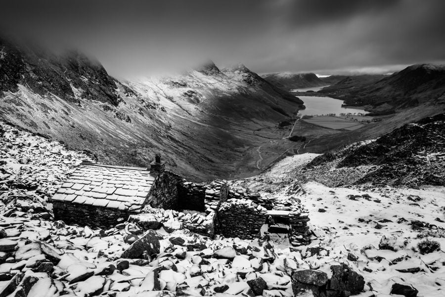 Warnscale bothy lake district buttermere black and white