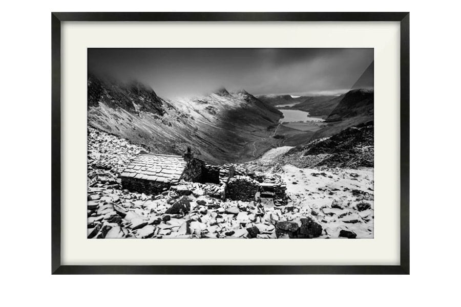 Warnscale Bothy Buttermere Black and White Black Framed Print