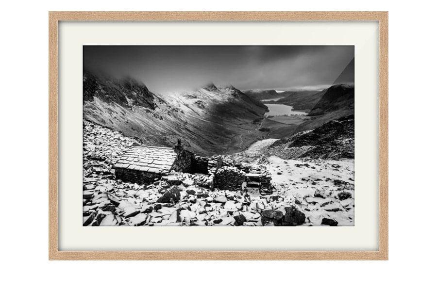 Warnscale Bothy Buttermere Black and White Oak Framed Print