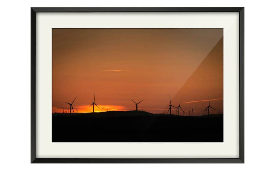 Photography of Kilgallioch Wind Farm at Sunset as a Black Framed art Print