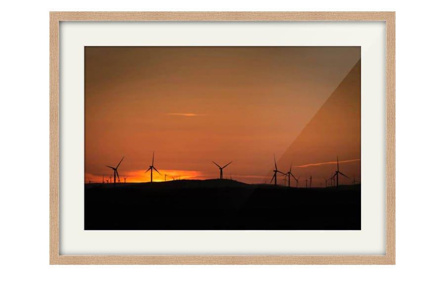 Photography of Kilgallioch Wind Farm at Sunset as a Natural Oak Framed Print