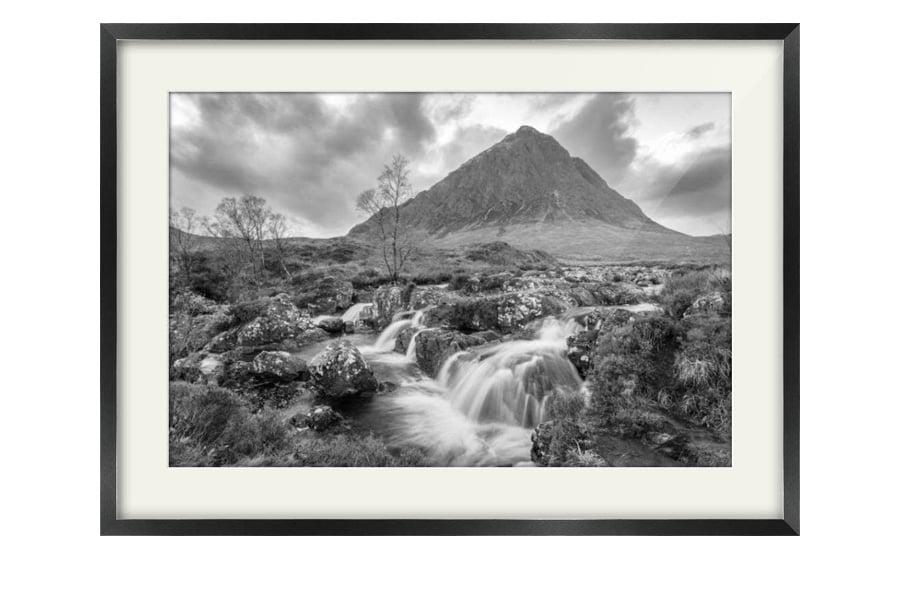 Black and White Buachaille Etive Mor Glen Coe Black Framed Print