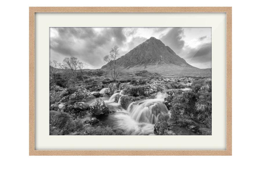 Black and White Buachaille Etive Mor Glen Coe Oak Framed Print