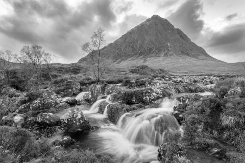 Buachaille Etive Mor Black and White Waterfall