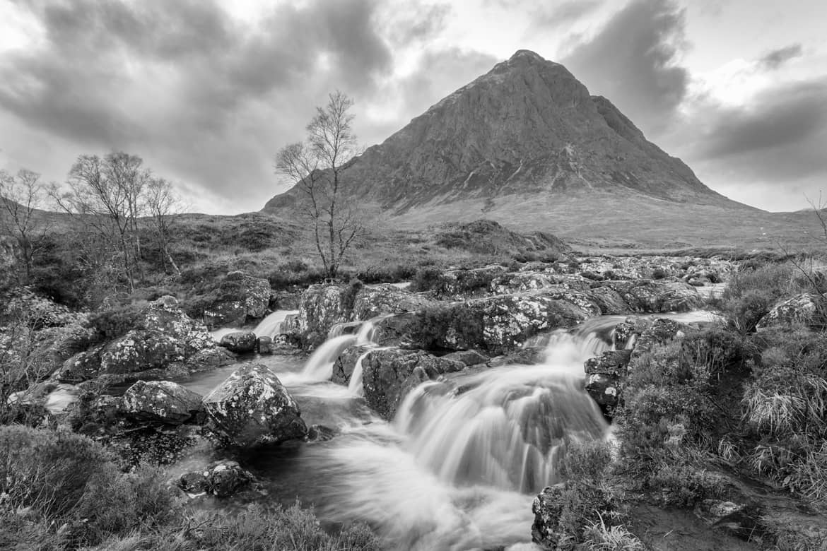 Buachaille Etive Mor Black and White Waterfall Portflio Image