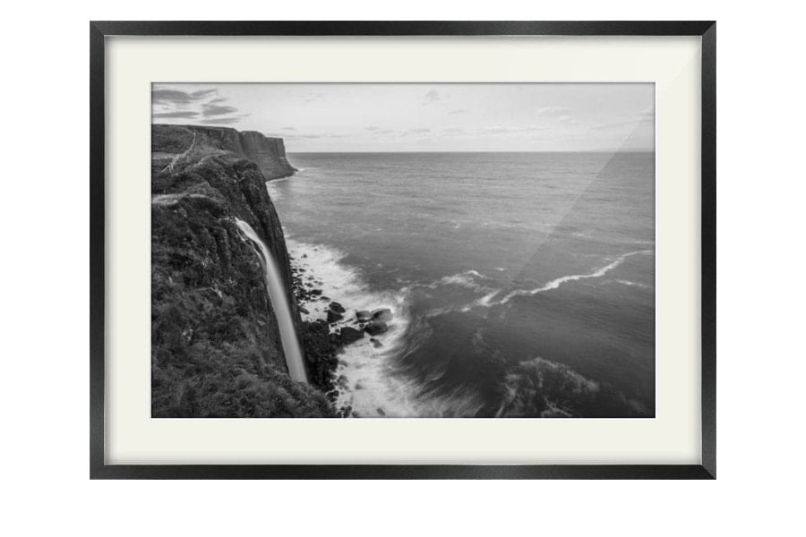 Mealt Falls Kilt Rock Black Framed Print