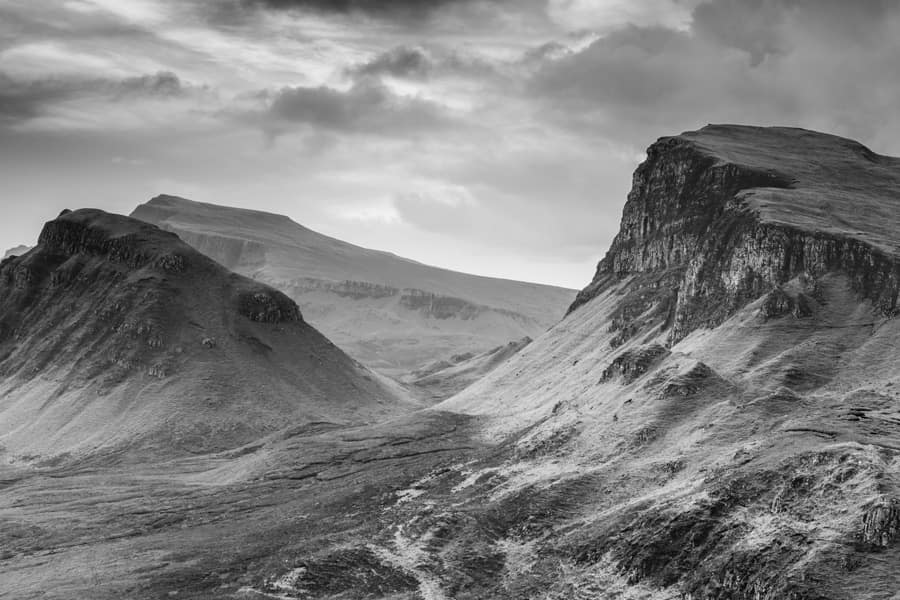 Quiraing Black and White Featured Image