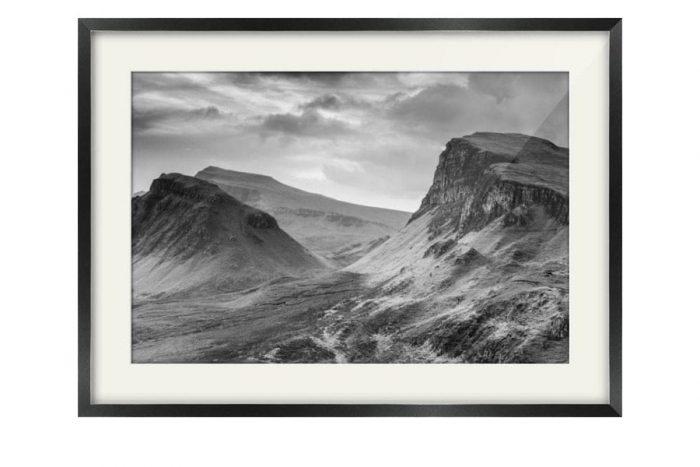 Quiraing Isle of Skye Black and White Black Framed Print