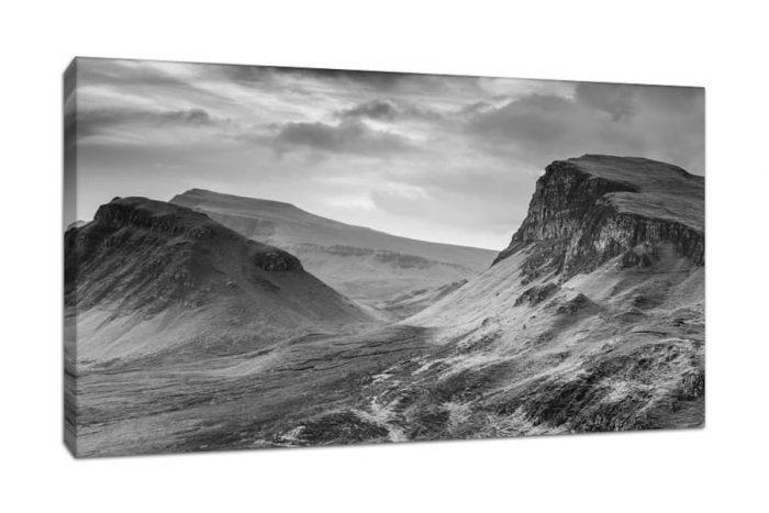 Quiraing Isle of Skye Black and White Canvas Print