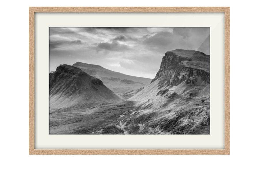 Quiraing Isle of Skye Black and White Oak Framed Print