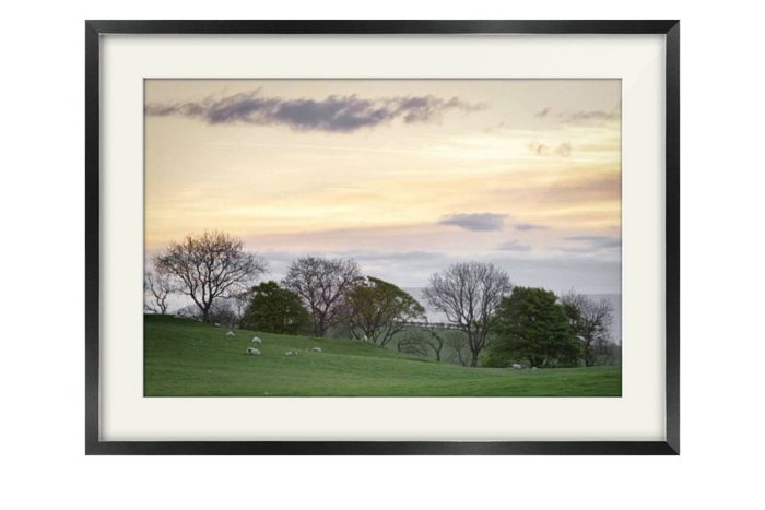 Dumfries and Galloway Fields Sunrise Black Framed Print