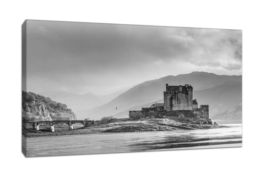 Eilean Donan Black and White Canvas Print
