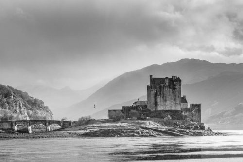 Eilean Donan Castle Black and White Misty Photography Print