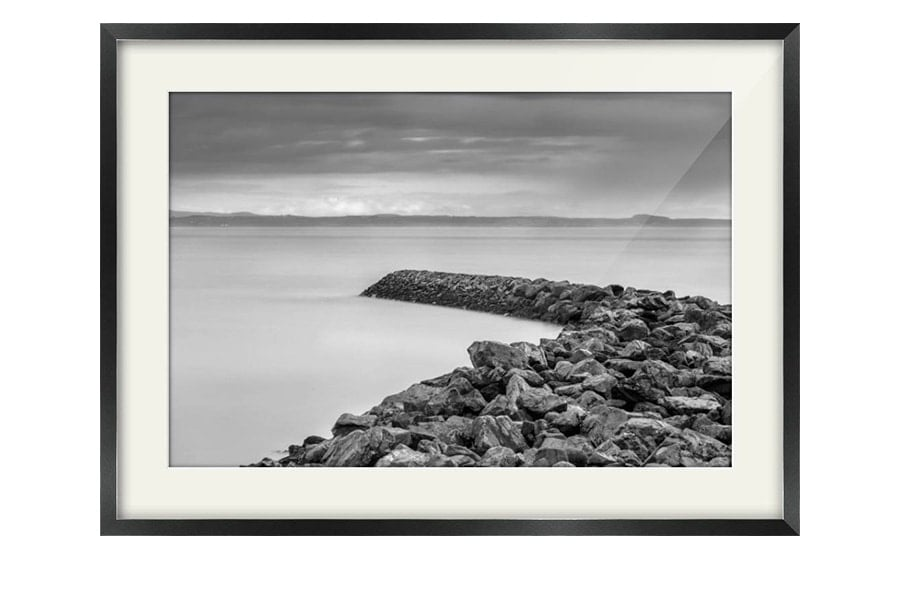 Garlieston Defences Black and White Black Framed Print