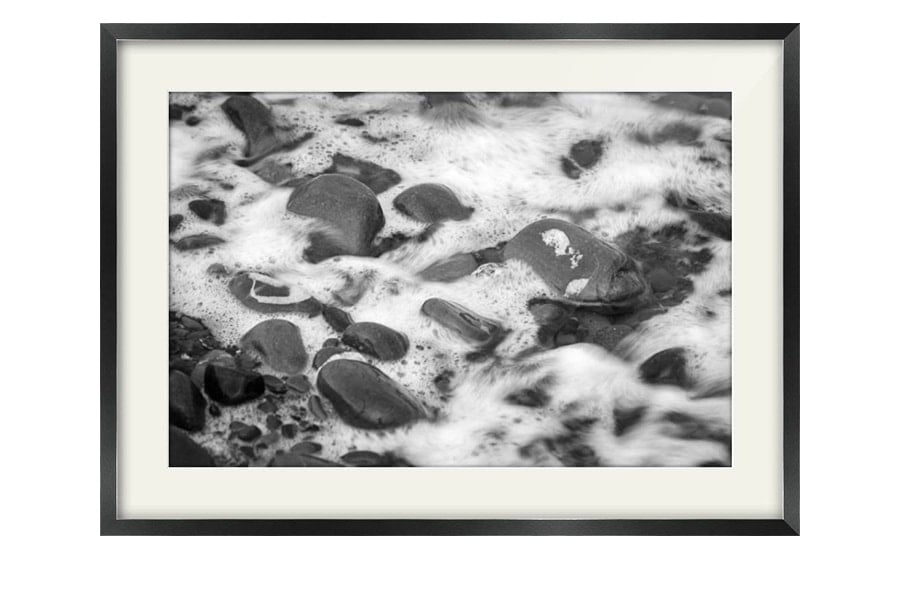 Garlieston Scottish Beach Pebbles Black Framed Print