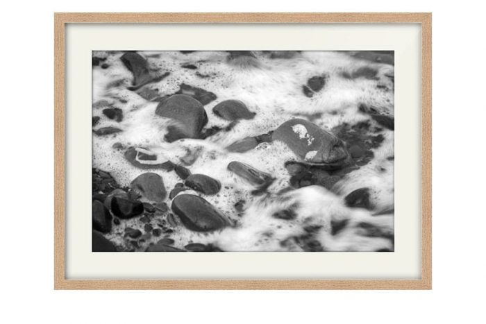 Garlieston Scottish Beach Pebbles Oak Framed Print